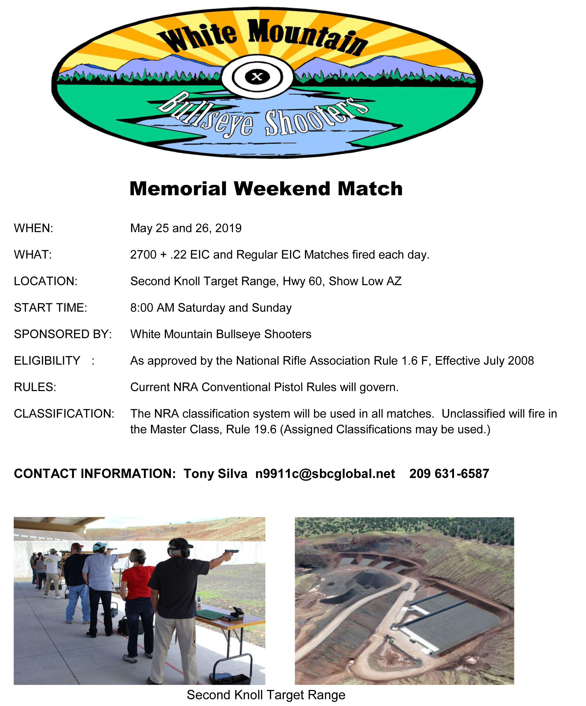 Memorial Weekend Match White Mountain Bullseye Shooters @ Second Knoll Target Range